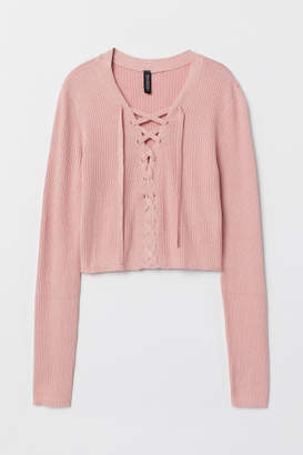 H&M Short Sweater with Lacing - Pink