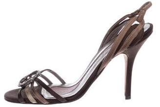 Anya Hindmarch Satin Mid-Heel Sandals