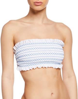 Tory Burch Costa Smocked Bandeau Bikini Swim Top