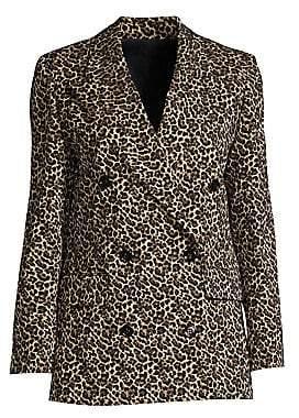 The Kooples Women's Leopard Print Double Breasted Blazer