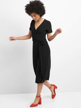 Gap Softspun Midi Wrap Dress in Ribbed