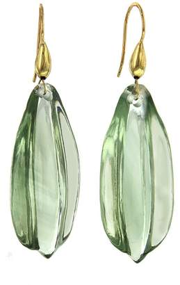 Ten Thousand Things Green Amethyst Leaf Cut Stone Earrings - Yellow Gold