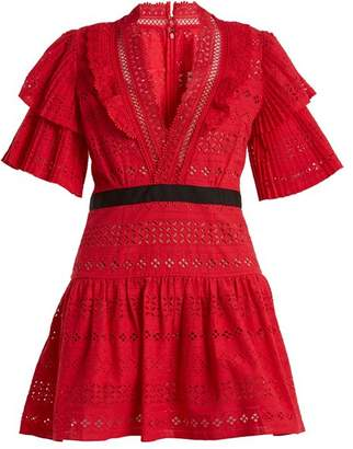Self-Portrait Self Portrait Deep V Neck Broderie Anglaise Cotton Dress - Womens - Red