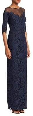 Teri Jon by Rickie Freeman Lace Illusion Gown