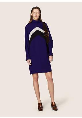 Derek Lam Long Sleeve Mock Neck Chevron Dress