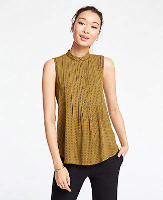 Ann Taylor Geo Lacy Pleated Shell