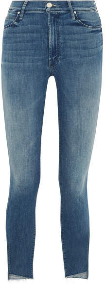 Mother - The Stunner Cropped Frayed Mid-rise Skinny Jeans - Mid denim
