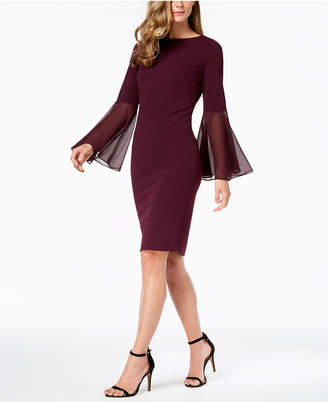 Calvin Klein Chiffon Bell-Sleeve Sheath Dress