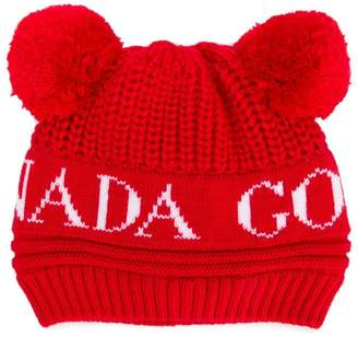 Canada Goose Kids pompom embellished logo beanie