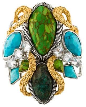 Alexis Bittar Dyed Turquoise & Chrysocolla Cholulian Statement Cuff