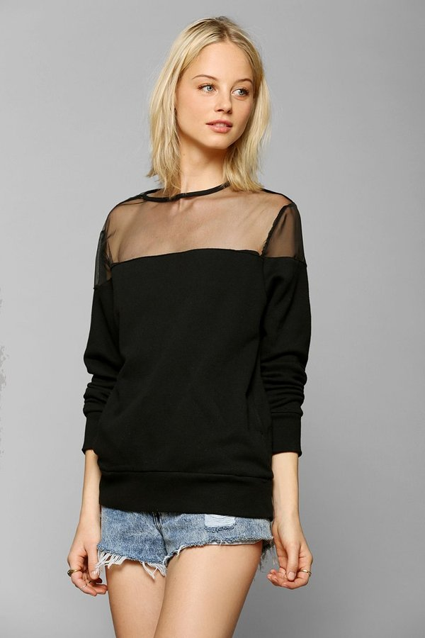 Urban Outfitters ByCORPUS Mesh-Inset Pullover Sweatshirt