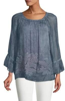 Le Marais Silk Bell-Sleeve Drape Top