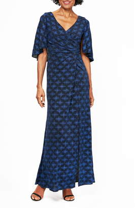 Alex Evenings Glitter Print Cape Gown