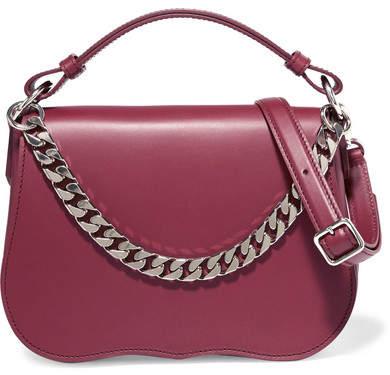 CALVIN KLEIN 205W39NYC - Chain-trimmed Leather Shoulder Bag - Burgundy