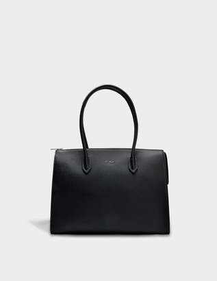 Furla Pin L Satchel Bag in Onyx Calfskin