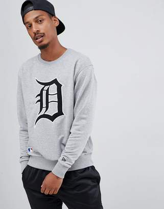 New Era MLB Detroit Tigers Sweatshirt With Large Embroidered Logo In Gray