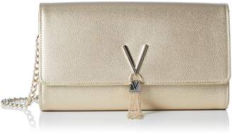Mario Valentino Divina Oro Gold Evening Shoulder Bag Clutch with Chain Strap