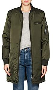 Members Only WOMEN'S SATIN ELONGATED BOMBER JACKET-DK. GREEN SIZE XS