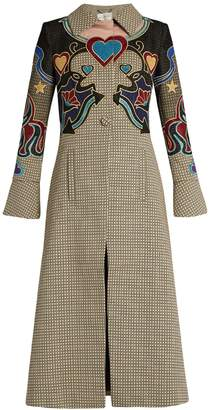 Mary Katrantzou Oliver cowboy-appliqué hound's-tooth coat