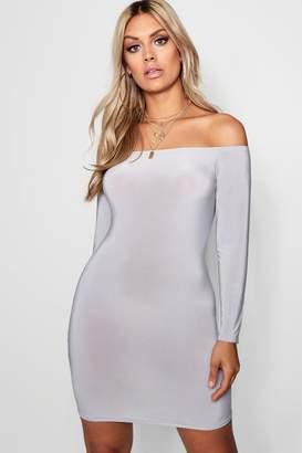 boohoo Plus Slinky Bardot Bodycon Dress