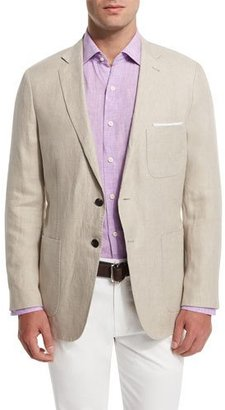 Peter Millar Two-Button Linen Soft Coat, Khaki $495 thestylecure.com