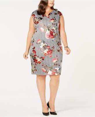 ECI Plus Size Foil-Print Shift Dress