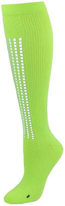 Champion Men's Compression Athletic Sock with Reflective Stripe, Lime