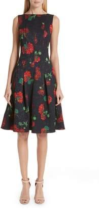 Oscar de la Renta Floral Jacquard A-Line Dress