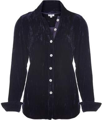 At Last... - Karen Silk Velvet Shirt Navy