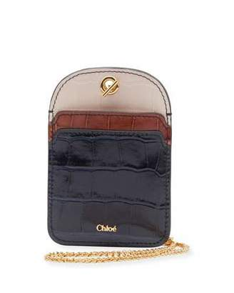Chloé Walden Colorblock Card Case on Chain