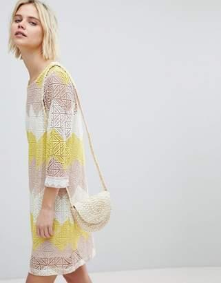 Suncoo Shift Dress in Colourblock Lace