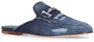 Tod's Distressed Denim Slippers