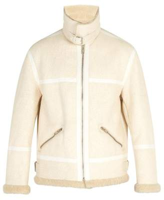 Givenchy Distressed Shearling Coat - Mens - Cream