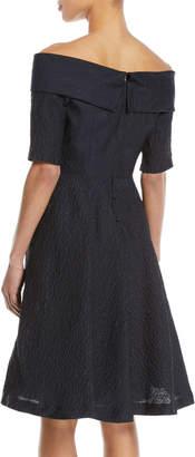 Rickie Freeman For Teri Jon Off-the-Shoulder Cloque Cocktail Dress w/ Full Skirt