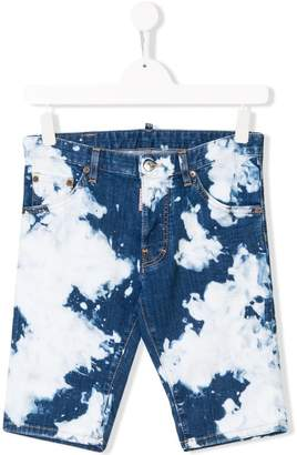 DSQUARED2 TEEN acid wash denim shorts