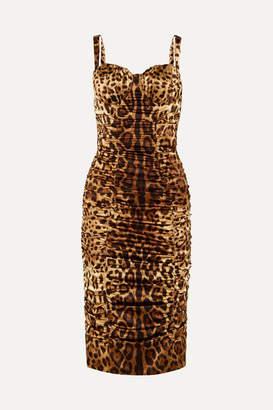 Dolce & Gabbana Ruched Leopard-print Stretch-silk Satin Midi Dress - Leopard print