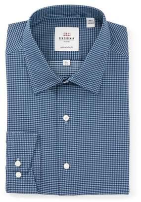 Ben Sherman Teal Herringbone Check Florentine Slim Fit Dress Shirt