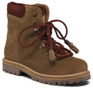 Suede Lug Sole Lace Up Hiker Booties