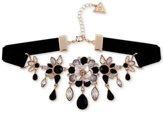 """GUESS Gold-Tone Crystal & Stone Flower Velvet Choker Necklace, 12"""" + 2"""" extender"""