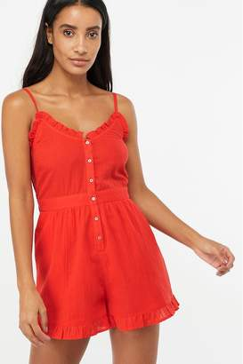 Accessorize Womens Red Frill Cotton Playsuit - Red