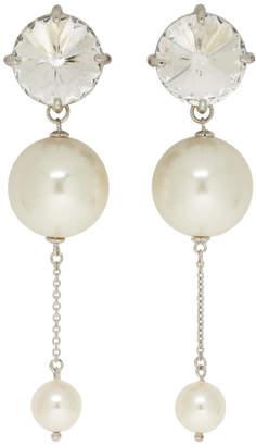 Miu Miu Silver and White Large Pearl Drop Earrings