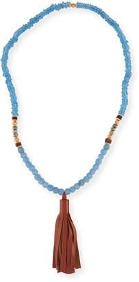 Neiman Marcus Akola Beaded Tassel Necklace, Blue/Brown