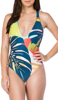 Trina Turk Banana Leaf One-Piece Swimsuit
