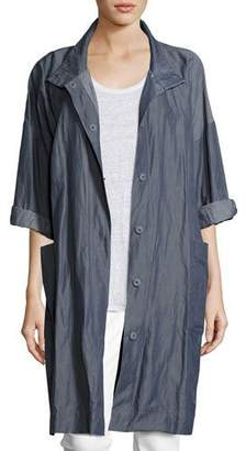 Eileen Fisher Textured Organic Cotton Steel Coat