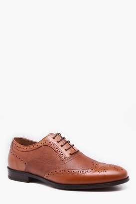 boohoo Real Leather Wing Cap Brogue
