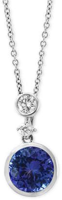 """Effy Tanzanite (1-1/4 ct. t.w.) & Diamond (1/6 ct. t.w.) 18"""" Pendant Necklace in 14k White Gold"""
