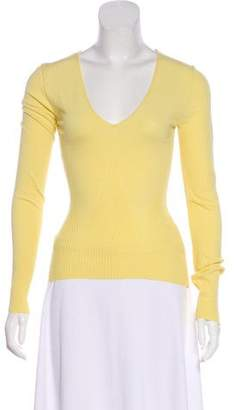 Valentino Pointelle V-Neck Sweater