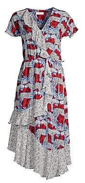 Parker Women's Reina Mixed Print Wrap-Front Midi Dress