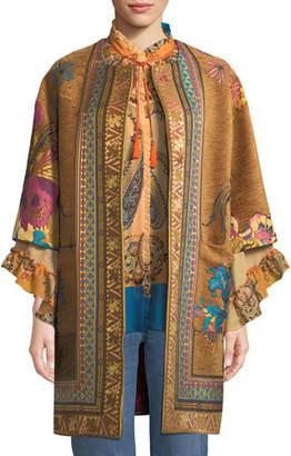 Etro Ribbon & Embroidery Velvet Topper Jacket