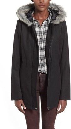 Junior Women's Krush Faux Fur Trim Hooded Coat $88 thestylecure.com